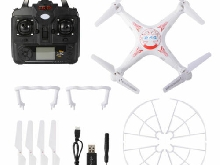 Quadcopter Drone AKASO X5C Blanc et Rouge Explorer 2.4Ghz 4CH 6-Axis Gyro