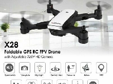 X28 Foldable GPS RC Drone with Adjustable 720P Wifi HD Camera Altitude HolYx
