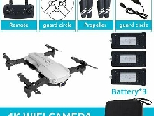 Foldable 2.4GHz WiFi FPV Drone 4K Camera RC Drone Aircraft Toy with 3 Batt LQ