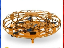Mini UFO Drone Toys USB Charging Kids Infrared Hand Sensor Model Toy (Gold)