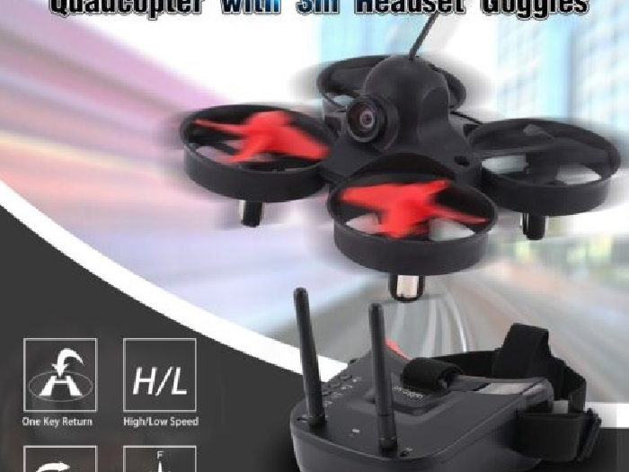 5.8G 40CH FPV Camera Mini RC Racing Drone Quadcopter with 3in Headset Goggles NM