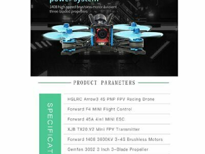 HGLRC Arrow 3 FPV Racing Drone 6S BNF Quadcopters With Flysky A8S V2 Recei BF